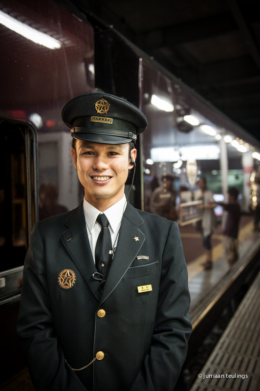 Staff at the 'Seven Stars in Kyushu' luxury train