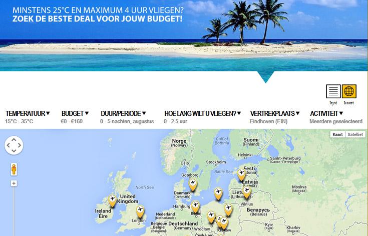 Filter op temperatuur, reisafstand en vertrekluchthaven... (kaartweergave)