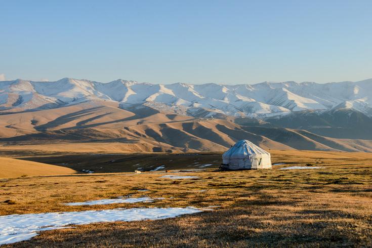 Een nomadentent op de Kazachse steppe